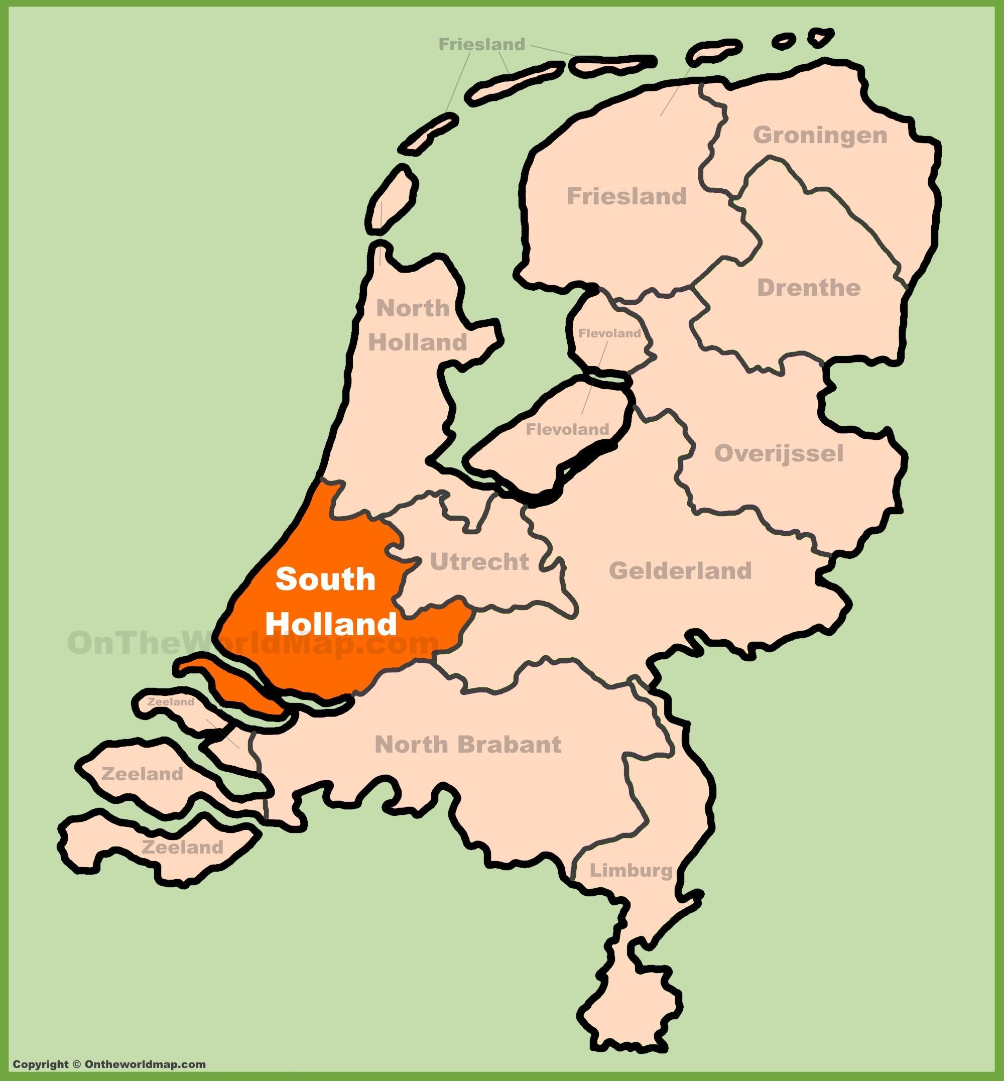 Europa Meridionale Cartina.Mappa Dell Olanda Meridionale Mappa Di South Holland Paesi Bassi Europa Occidentale Europa