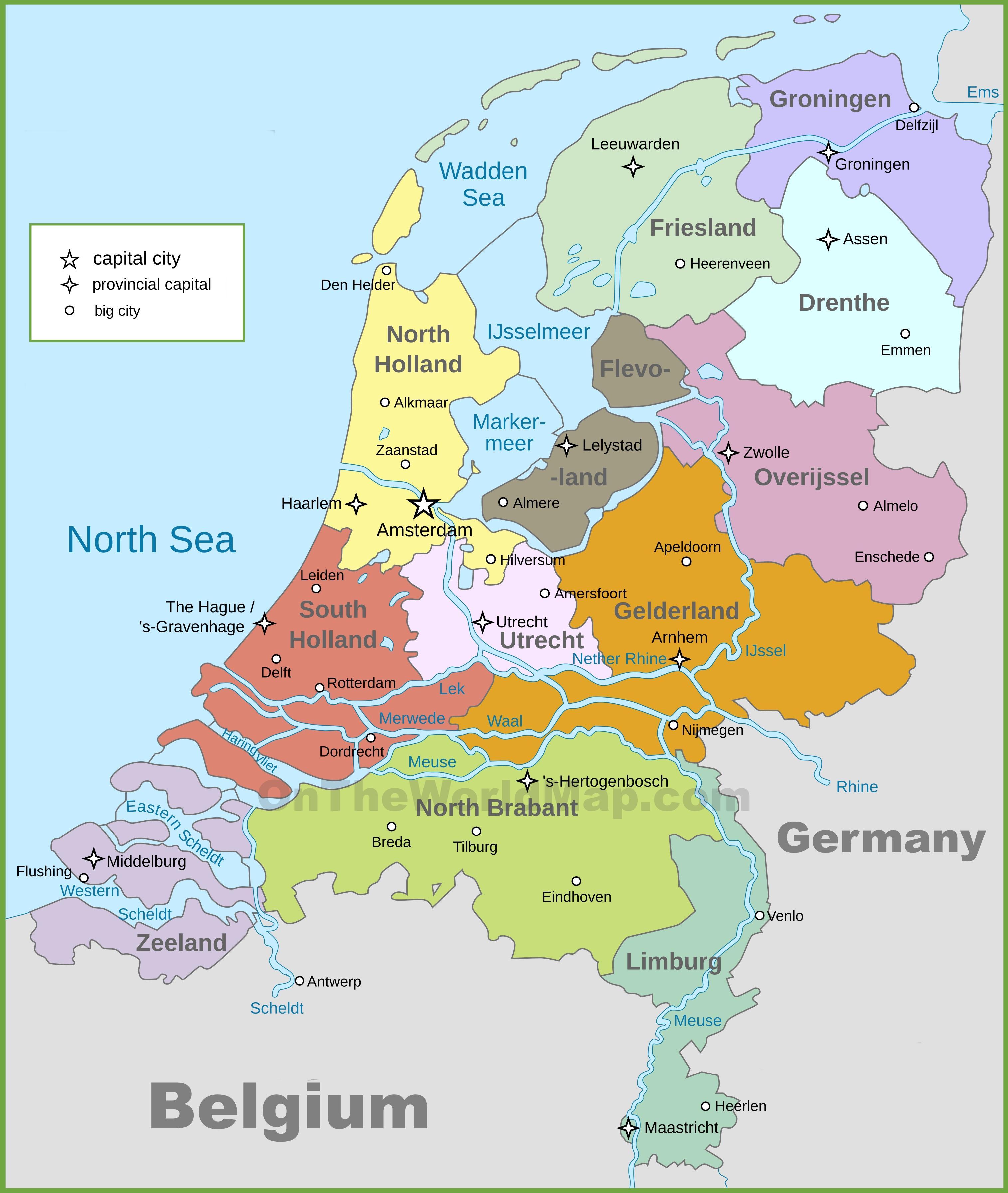 Cartina Olanda Politica.Mappa Politica Di Olanda Cartina Politica Dei Paesi Bassi Europa Occidentale Europa