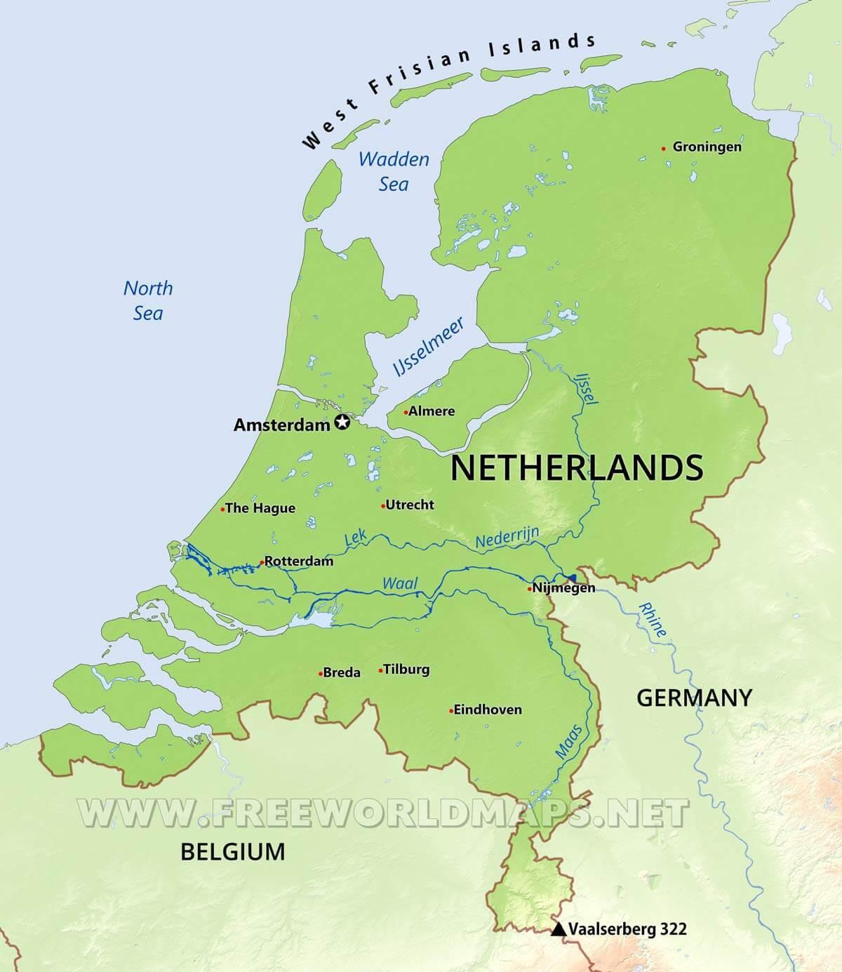 Olanda Cartina Fisica.Paesi Bassi Mappa Fisica Fisica Mappa Dei Paesi Bassi Europa Occidentale Europa