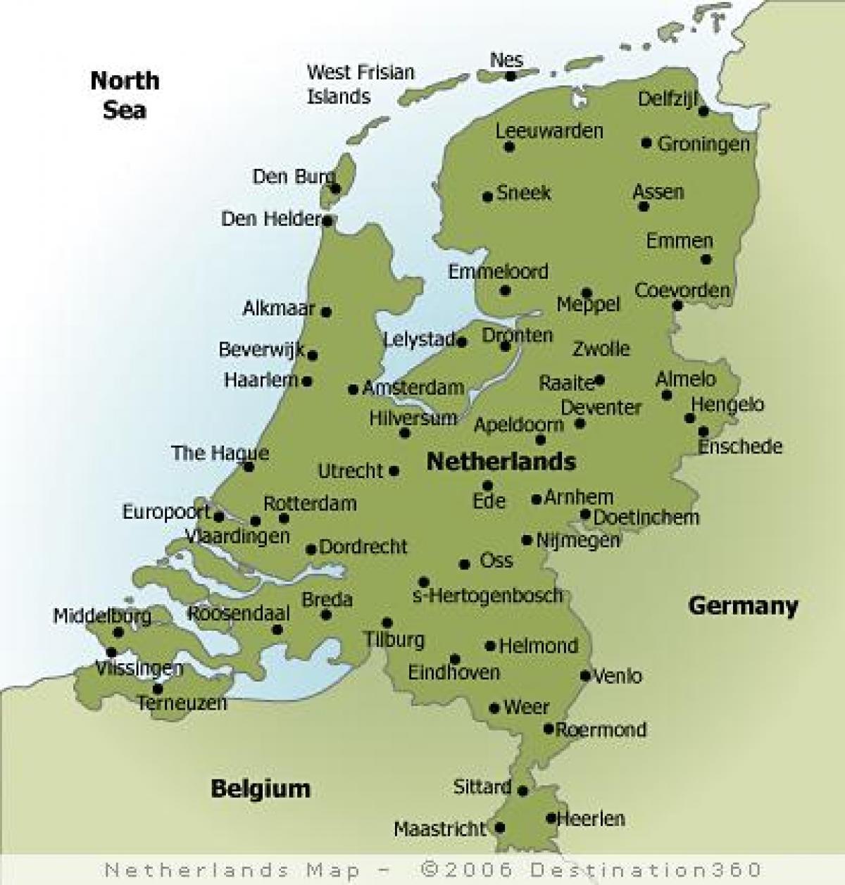 Cartina Amsterdam.Citta In Olanda Mappa Cartina Di Holland Citta Europa Occidentale Europa