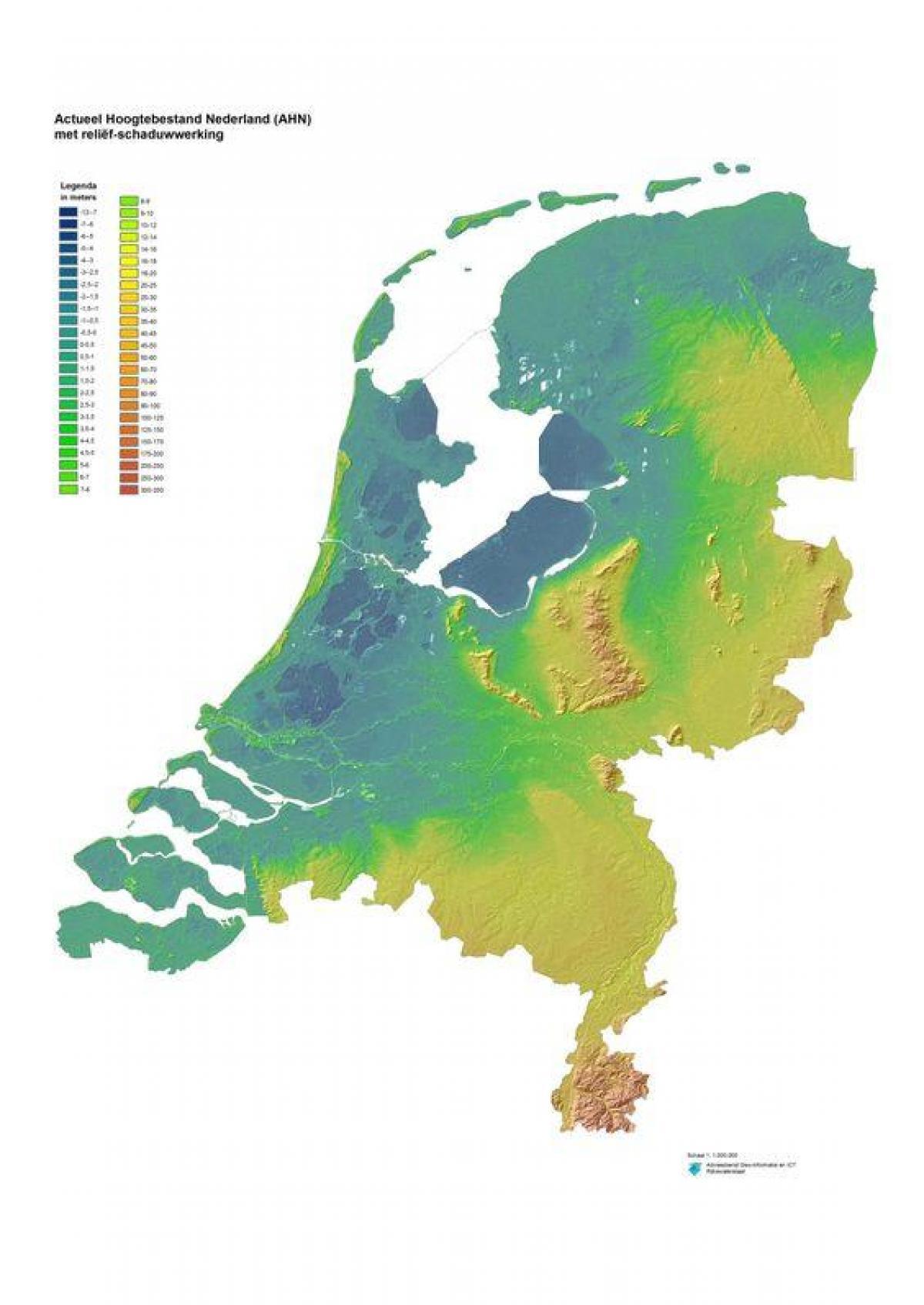 Olanda Cartina Fisica.Paesi Bassi Mappa Topografica Mappa Fisica Dei Paesi Bassi Europa Occidentale Europa